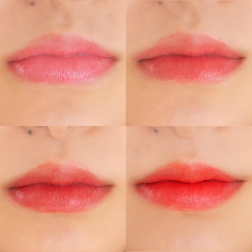 左上:ピンク、右上:コーラルピンク左下:レッド、右下:オレンジ