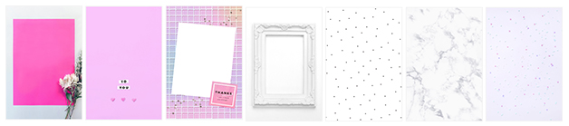 『moreruシート』 (写真左から)flower、pink、tile、flame、dot、marble、star